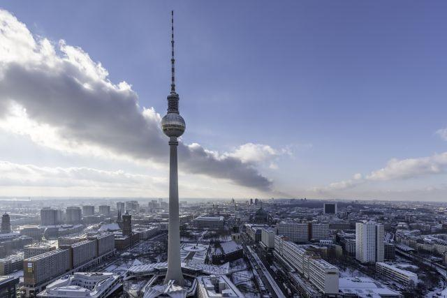 View to Berlin Fernsehturm in 110m height